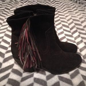 Sam Edelman Fringe Suede Ankle Boots